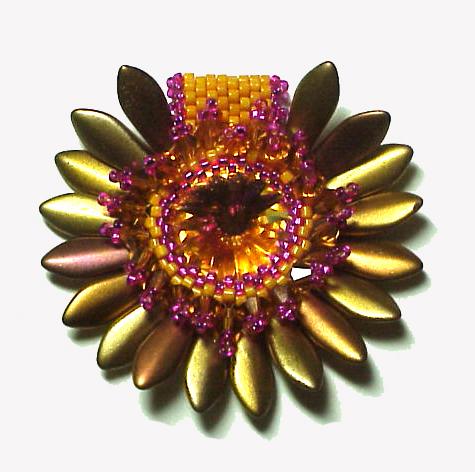Pink Orange Sunflower beaded pendant daggers rivoli swarovski