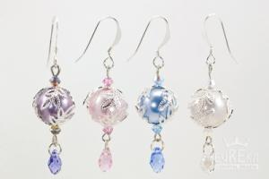 Pastel pearl earrings.