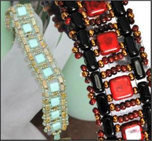 Two Hole Bricks and Two Hole Tiles make this pretty ladder bracelet by Kathy Simonds.