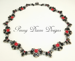 Penny Dixon Art Deco Necklace with Czech Mates Two Hole Beads.