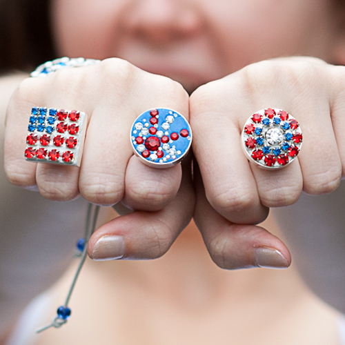 rhinestone chain ring american flag