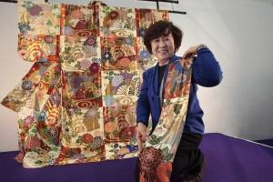 Takako Sako and her beaded kimono.