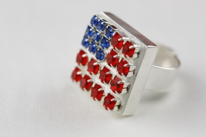 American Flag Rhinestone Ring