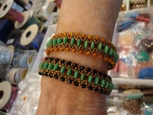 Cheryl two hole lentils bracelet eureka crystal beads