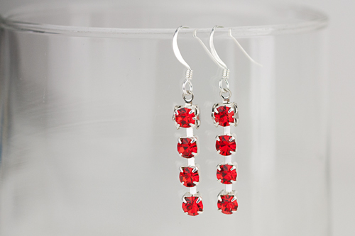 Simple Rhinestone Cup Chain Earrings