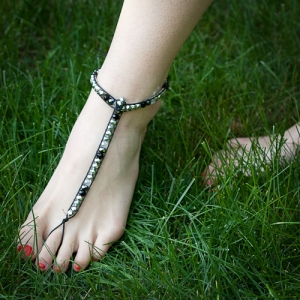 foot-thong barefoot sandals beaded