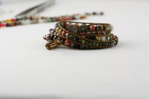 Bohemian Wrap Bracelet Leather Cord and Beads Chan Luu Czech Glass