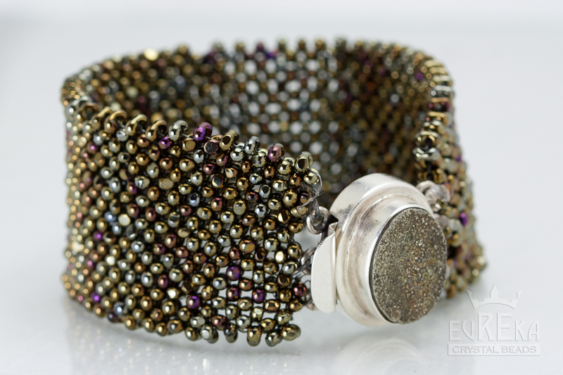 right angle weave farfalle seed beads bracelet diy cuff eureka crystal beads