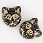 cat beads kitty kitten halloween black gold beading glass crystal