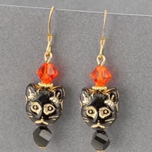cat earrings beads swarovski black halloween
