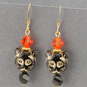 cat earrings beads swarovski black halloween