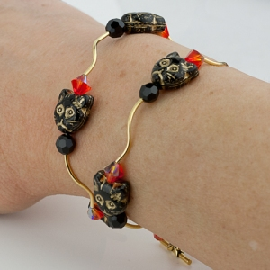 black cat bracelet halloween