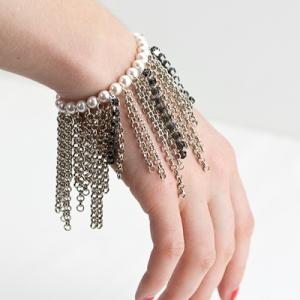 ysl saint laurent fringe chain pearl grunge fringe bracelet