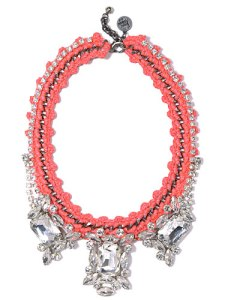 venessa arizaga silver plated chain and glass rhinestone pink panther necklace