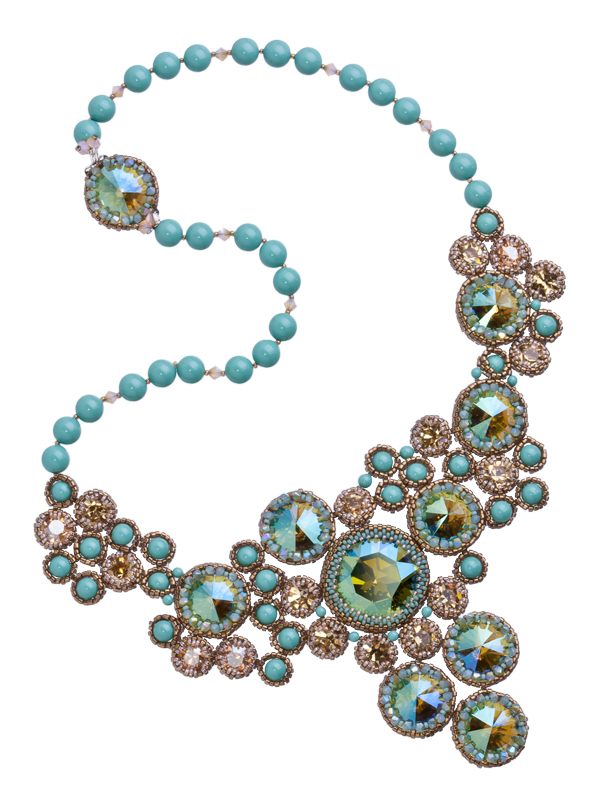 eureka crystal beads necklace swarovski rivolis statement jewelry