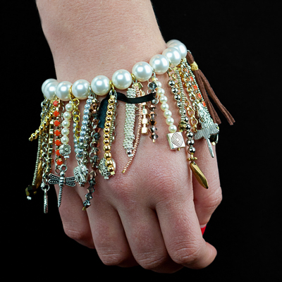 ysl diy saint laurent grunge bracelet tutorial fringe crystal rhinestone chain pearls
