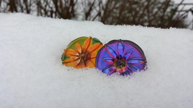 czech glass bead button large eureka crystal flower sunshine volcano snow
