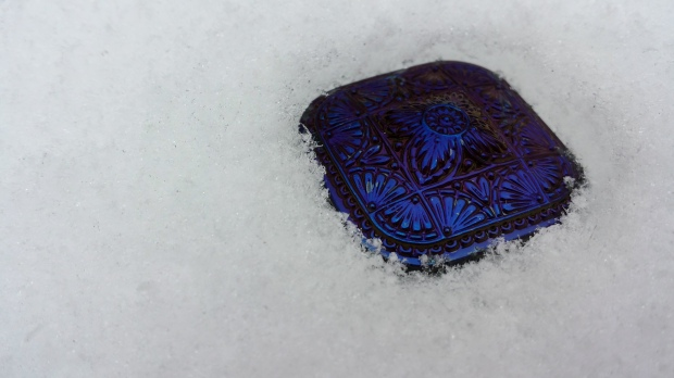 czech glass bead button large eureka crystal square cobalt snow