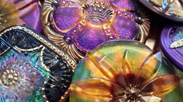 czech glass bead button large eureka crystal square antique art nouveau