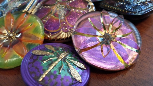 czech glass bead button large eureka crystal square dragon fly flower purple