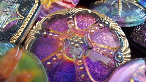 czech glass bead button large eureka crystal square antique round purple sewing