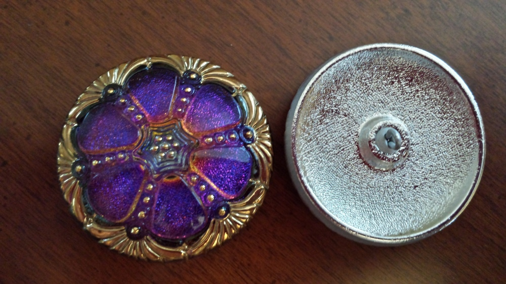 czech glass bead button large eureka crystal antique metal back