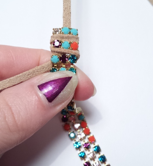 learn diy rhinestone chain bracelet eureka crystal beads jewelry tutorial
