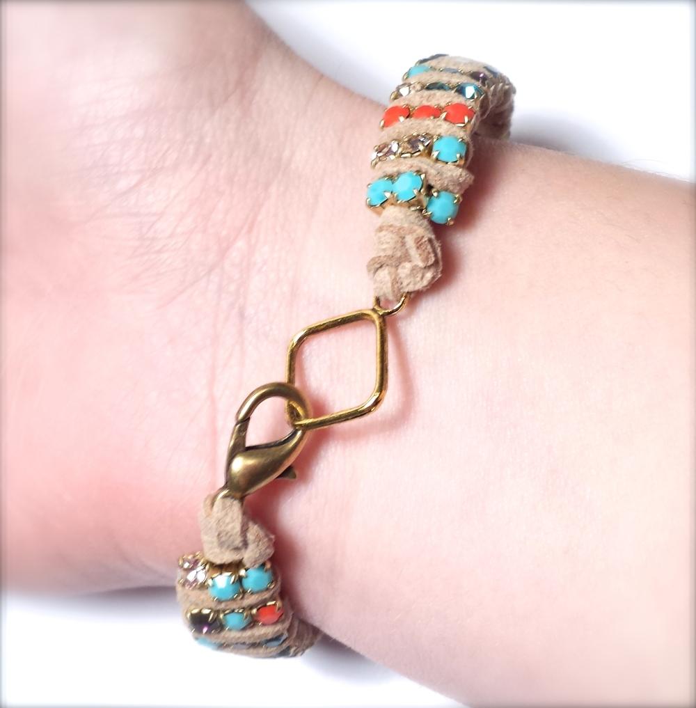 crystal rhinestone chain bracelet tutorial suede lace eureka