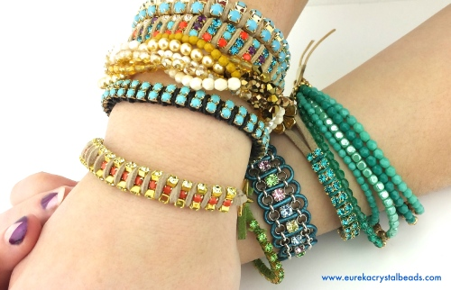 bracelets diy beaded rhinestone suede cord leather project tutorial eureka crystal beads
