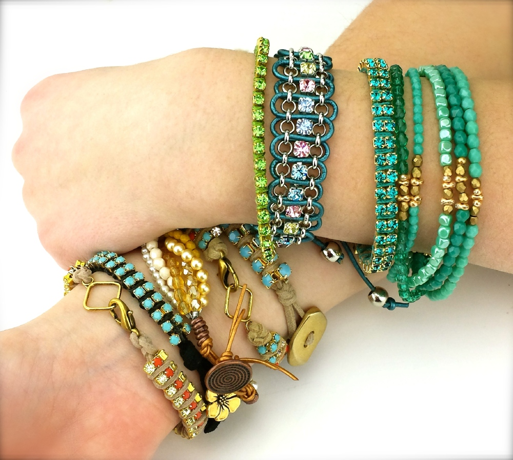 rhinestone chain DIY suede lace bracelet tutorial eureka crystal beads jewelry