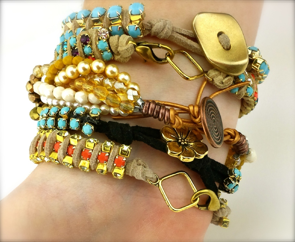 bracelet diy bohemian clasps rhinestone chain suede lace cord buttons beading crystal eureka