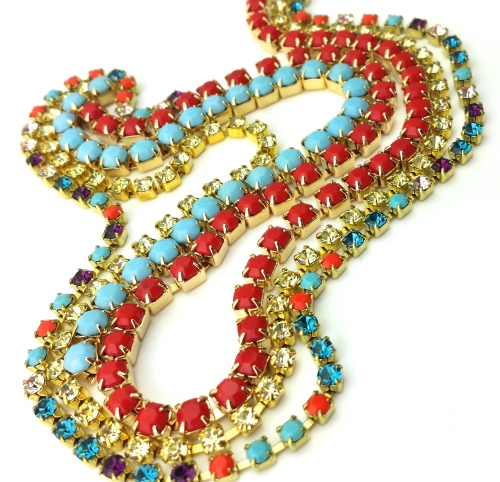 rhinestone chain jewelry supplies diy eureka crystal beads coral turquoise 4mm