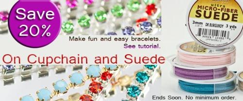 Sale rhinestone chain suede lace