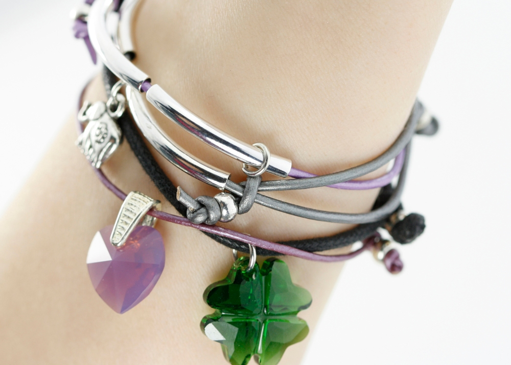 diy leather cord bracelet tutorial stacked st patricks charm crystal eureka