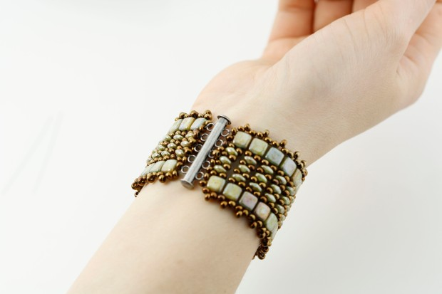 czech two hole tiles super duo bracelet beaded diy