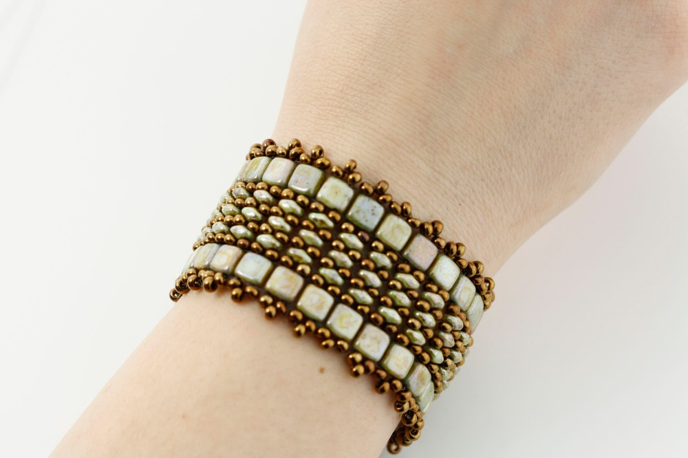 A Simple Two Hole Tile Cuff Bracelet