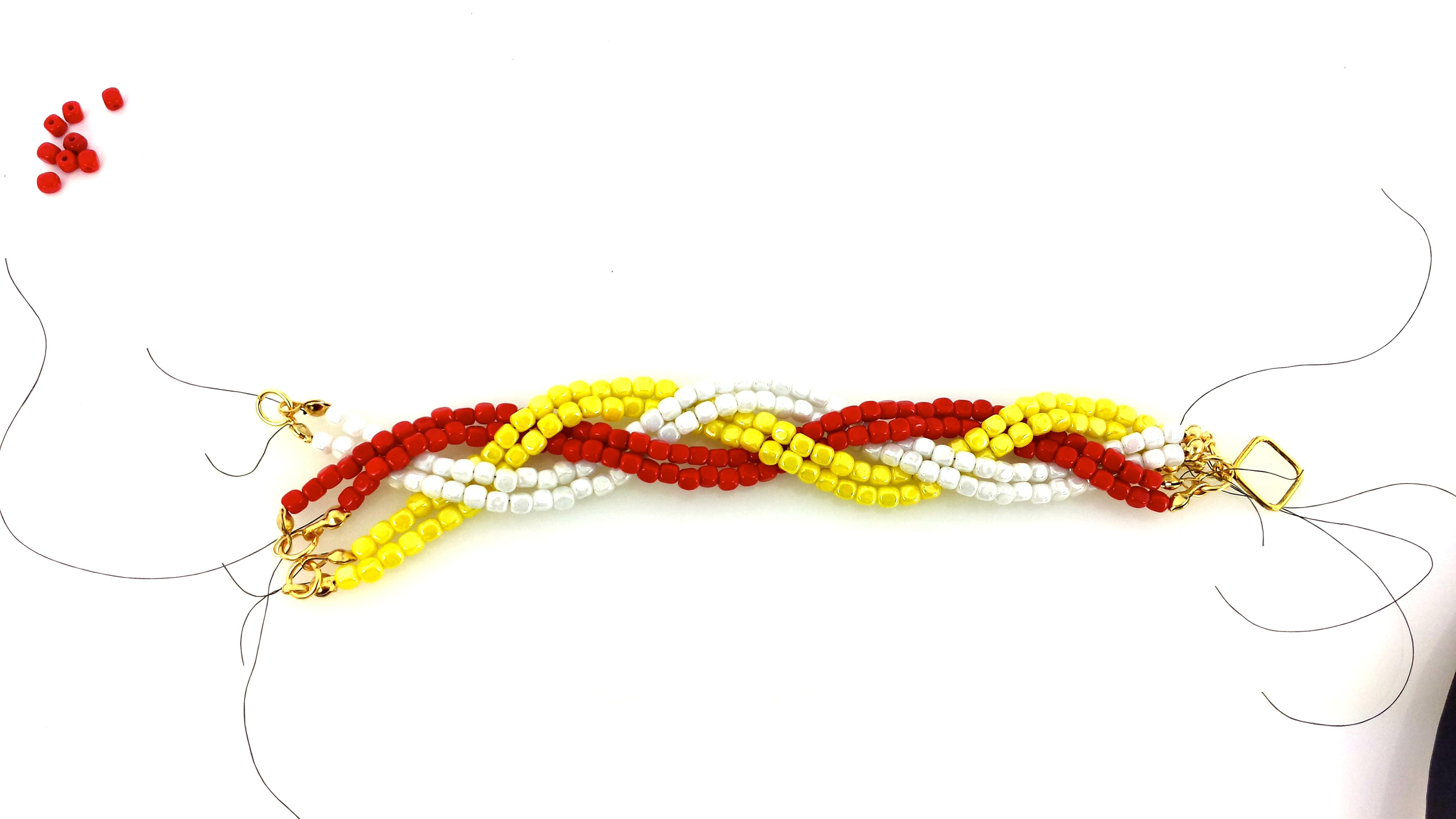 Плетение косички из бисера схема плетения