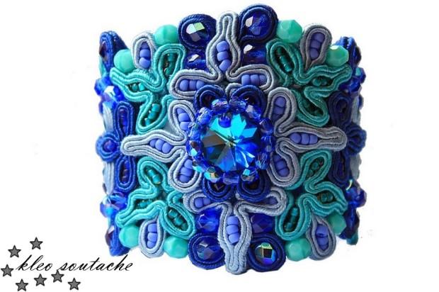 bransoletka turkus szafir niebieski kleo soutache komplet biżuteria wyjątkowa piękna bogato zdobiona
