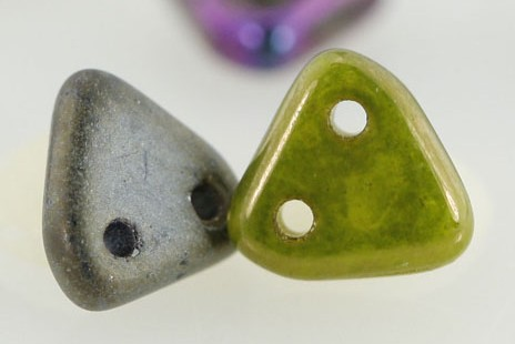 Triangle two hole beads czech mates beading glass new trend