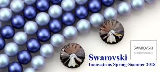 Swarovski Light Blue Iridescent Pearls, Swarovski Dark Blue Iridescent Pearls