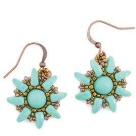 sunflower-earrings-green