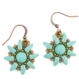 sunflower-earrings-green